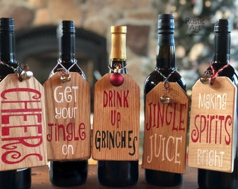 Set of 5 Variety Pack | Wood Wine Bottle Tags | Wood Christmas Ornamenst | Hostess Gifts / Christmas Gifts