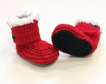 Santa Baby boots, crochet baby boots, babys first christmas