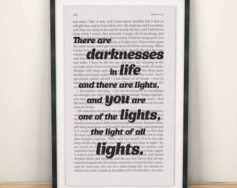 Dracula Book Page Art There Are Darknesses In Life Print Quote Wall Artwork Poster