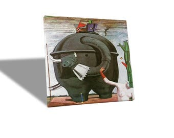 Canvas paintings Canvas-Max Ernst-the Elephant celebrities-yellow BUS