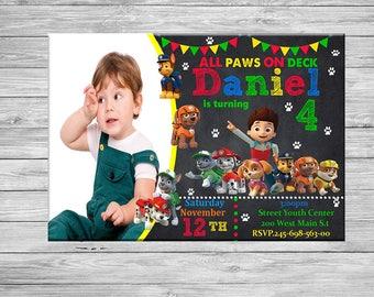 Paw Patrol Invitation, Paw Patrol Birthday Invitation, Paw Patrol Invite, Chalkboard