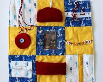Fidget Blanket - Nautical - Dementia Alzheimer's - Fidget Quilt - Sensory Blanket - for men - Lap Pad - Activity Blanket MLBQ-001YBL