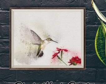 Abstract Hummingbird Print, Downloadable Print, Vintage Style Art, Hummingbird Lover Artwork, Hummingbird Download, Hummingbird Decor