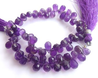 Amethyst Smooth Drops Beads, Size-7x5 MM, Natural Amethyst Beads, AAA quality, Faceted Drops Bead, Natural Gemstone, 8 INCH