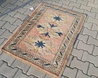 Pink And Blue Rug,2'7x3'9 ft,84x120 Turkish Rug,Oushak Rug,turkish rug,Knot Rug,Pile Rug,,Bohemian Rug,Anatolian Vintage Rug,Turkish,1139