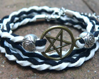 Leather Bracelet with Star of David, Leather Chamois Black and White color, Cool Bracelet, Charm Bracelet, BRC-17