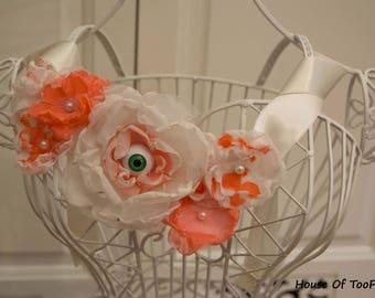 GLOW in the DARK Eyeball Handmade Flowers Halloween Festival Costume Necklace belt sash