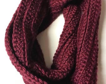 Ready To Ship-Merlot Bulky Infinity Scarf