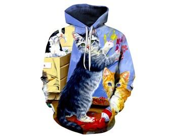 Cat Hoodie, Cat, Cat Hoodies, Animal Prints, Animal Hoodie, Animal Hoodies, Cats, Hoodie Cat, Hoodie, 3d Hoodie, 3d Hoodies - Style 9