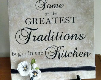 Some of the Greatest Traditions begin in the Kitchen, 12 x 12 ceramic tile, kitchen, wedding, housewarming gift