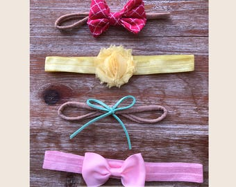 Set of 4 Live Fancy Hand-Made Baby Toddler Headbands   No Mark   Color Theme Options