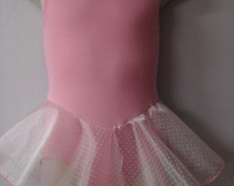 Girls Light Pink Lined Leotard with Removable Pink Tulle Skirt Sizes 2-16 Brand New Professionally Made
