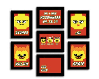 Personalised LEGO Family Print -  Great Family Present, Wedding Gift, Birthday Surprise!