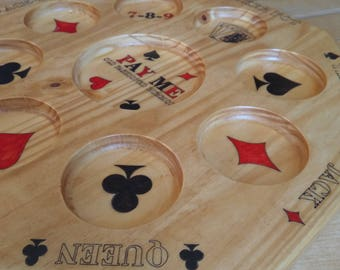 Luxury Wood carved Old Fashioned Rummoli Game Board, Hand painted, spinning around.Family fun.