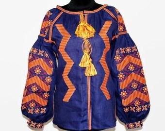 Ukrainian Embroidery Embroidered Blouse Cobalt Blue Linen Boho Clothing Bohemian Clothes Ukraine Fashion Blouses Vyshyvanka Women Vishivanka