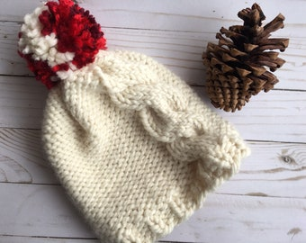 Large Cable Hat with Sweetheart Pom -- Adult Winter Hat