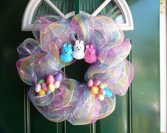 Deco Mesh and Bunny Wreath