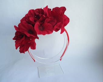 Red headband Red flower headband Red floral headband Red hydrangea headband Red hair accessory Hydrangea headband Red hairpiece