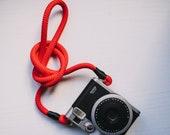 Tracolla per fotocamera - cinghia cinturino in corda morbida universale Accessori Spallaccio Camera Strap rosso nero Sony Nikon Canon fuji