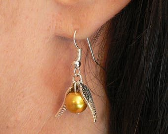 Harry Potter Inspired Golden Snitch Earrings with Fishooks Hogwarts Quidditch Christmas Gift