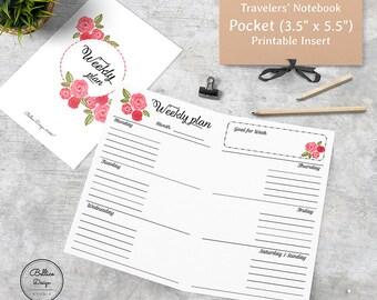 Pocket Planner, TN Pocket Weekly Inserts, Pocket TN Inserts Undated Printable, Floral Weekly Planner, Undated Planner, Midori Pocket Inserts