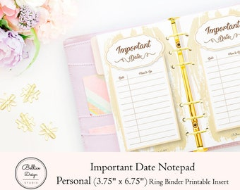 Important Dates Printable, Notepad Printable, Personal Size Inserts, Personal Printable, Notepad, Dashboards Personal Planner, Date Planner