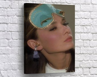 Audrey Hepburn Sleep Mask Canvas Print Breakfast At Tiffanys Home Decor Blue Vintage