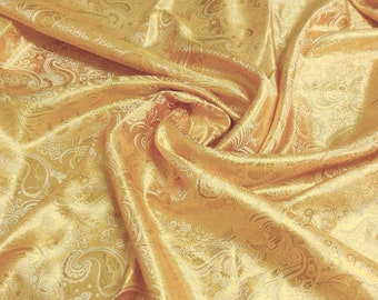 Silver on Gold Chinese Asian Brocade Silk Fabric By The Yard or Metres or Samples GP-625 Embroidered Jacquard Fashion Satin Fabric Cloth