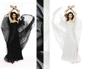 Super soft Pure Mulberry Silk Solid Black, Off White, Bright White pure silk chiffon fabric material sheer # hac