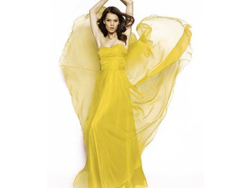 Super soft Pure Mulberry Silk Solid Color Daffodil yellow pure silk chiffon fabric material sheer # hac 36,