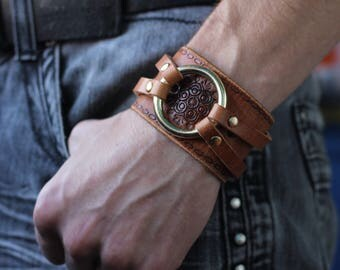 Christmas gift, Steampunk bracelet, clothing gift for him, brutal leather wristband, men cuff, cosplay present, LARP jewelry, recycled item