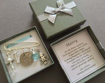 LUCKY SIXPENCE, baby's first christmas, gift, keepsake, angel, PERSONALISED