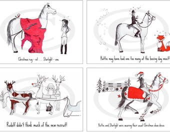 Pack of four hand drawn Christmas cards