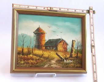 Vintage trio of framed farmhouse paintings, good condition