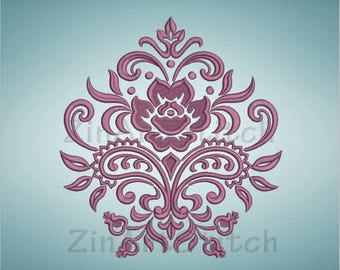 Machine embroidery design Damask element Victorian design Damask ornament Instant Download 8 Formats Embroidery Design
