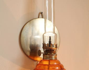 Vintage glass lamp, Antique oil lamp, Wall lantern, Old hanging lantern, Rustic lantern, Vintage Old gasoline lamp with brass mirror
