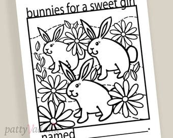 Bunny. Bunnies. Rabbits. Coloring. Coloring Page. Coloring Pages for Kids and Adults. Kids Coloring Pages. Printables. Instant Download.