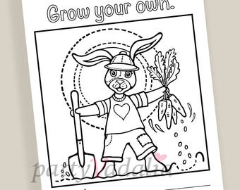 Bunny. Cute Bunny. Coloring. Coloring Page. Coloring Pages for Kids and Adults. Kids Coloring Pages. Printables. Instant Download.