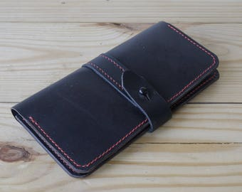 Horween Chromexcel Women's Long wallet in Black