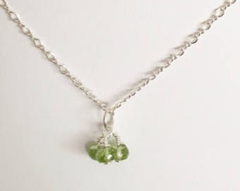 Peridot drop, peridot, rondelle, 13mm necklace add on, necklace accessory, August birthstone, sterling silver, green stone, small gift,