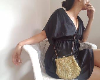 Vintage Gold Evening Bag / Gorgeous Gold Beaded & Sequins Evening Bag