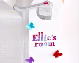 Personalised bedroom door handle sign