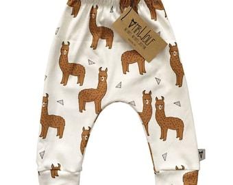 Baby Slouch Pant -White Llama