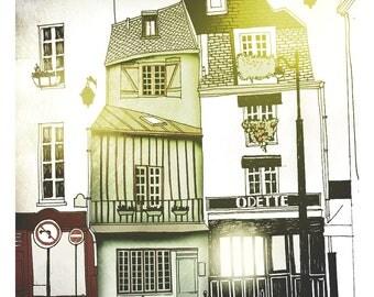 Paris,  Paris street , cafe parisien, illustration, home decor