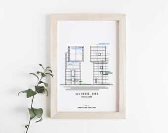 Tadao Ando Poster - 4x4 House - Modern Art Print, Travel Poster, Illustration Print, Architecture Art Print