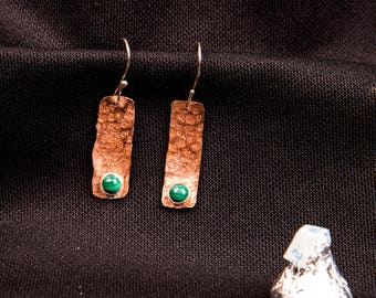 copper earrings with silver wires and malachite