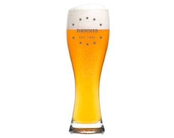 "Leonardo Wheat Glass with personalized engraving/engraved ""stars"" gift for men beer with name date for birthday Father's Day"
