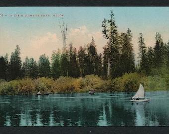 Oregon Postcard - Vintage color postcard of a Boat on the Willamette River