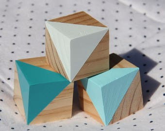 Hand Painted Wooden Blocks - Blue Collection