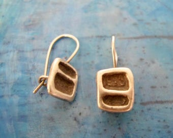 Sterling silver square drop earrings, sterling silver drop earrings, sterling silver earrings, drop earrings, sterling silver